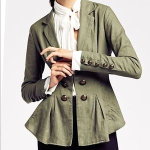 Free people cinched waist olive green linen blazer